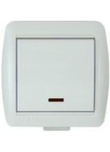 Lezard Nata белый выключатель 1 клавишный с подсветкой