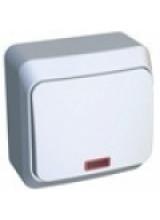 Этюд выключатель 1-кл с подсветкой накладной белый BA10-005B