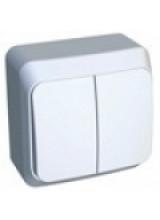Этюд выключатель 2-кл с подсветкой  накладной белый BA10-006B