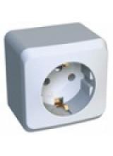 Этюд розетка 1-я с заземлением накладная белая PA16-003B