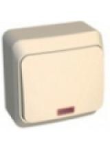 Этюд выключатель 1-кл с подсветкой накладной кремовый BA10-005K