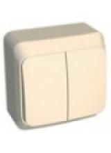 Этюд выключатель 2-кл с подсветкой  накладной кремовый BA10-006K