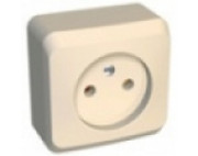 Этюд розетка 1-я без заземления накладная  кремовая PA16-001K