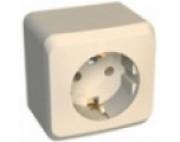 Этюд розетка 1-я с заземлением накладная кремовая РА16-003К