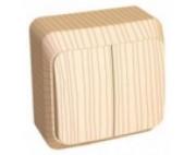 Этюд Дача Сосна выключатель 2-клавишный накладной BA10-002D
