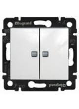 Legrand Valena Выключатель двухклавишный с подсветкой белый 774428