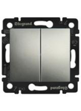 Legrand Valena алюминий выключатель двухклавишный 770105