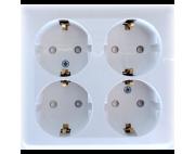 Этюд розетка 4-я с заземлением накладная белая PA16-105B