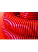 Труба гибкая двустенная ДКС 90мм с протяжкой с муфтой красная (50м) бухта 121990