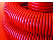 Труба гибкая двустенная ДКС 200 мм с протяжкой с муфтой красная (35м)