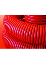 Труба гибкая двустенная ДКС 160 мм с протяжкой с муфтой красная (50м)