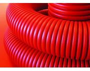 Труба гибкая двустенная ДКС 75 мм с протяжкой с муфтой красная (50м)