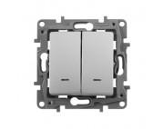 Legrand ETIKA выключатель двухклавишный с подсветкой алюминий 672404