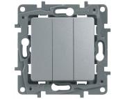 Legrand ETIKA выключатель трехклавишный алюминий 672413