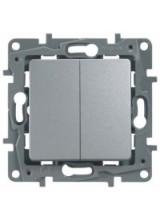 Legrand ETIKA выключатель двухклавишный алюминий 672402