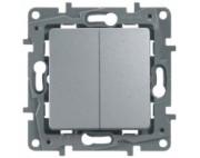 Legrand ETIKA переключатель двухклавишный алюминий 672412