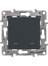 Legrand ETIKA переключатель двухклавишный с подсветкой антрацит 672616