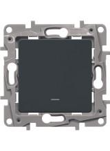 Legrand ETIKA выключатель одноклавишный с подсветкой антрацит 672603