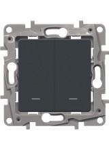 Legrand ETIKA выключатель двухклавишный с подсветкой антрацит 672604