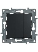 Legrand ETIKA выключатель трехклавишный антрацит 672613