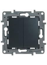 Legrand ETIKA выключатель двухклавишный антрацит 672602