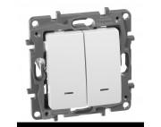 Legrand Etika выключатель двухклвишный с подсветкой белый 672204