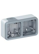 PLEXO Коробка наружная 2 поста IP55 горизонтальная серая (69672)