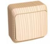 Этюд (шнайдер) Дача (светлое дерево) выключатель 1-клавишный накладной ВА10-001D