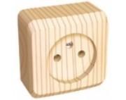 Этюд (шнайдер) Дача (светлое дерево) розетка 1-я без заземления накладная РА10-001D
